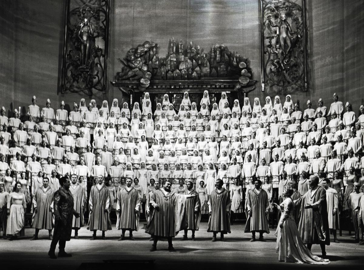 Hans Beirer, Josef Greindl, Pilar Lorengar, Walter Kreppel; Eine Inszenierung von Wieland Wagner